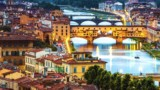 Florence, Ponte Vecchio arch bridge at twilight from Piazzale Michelangelo (Tuscany, Italy)